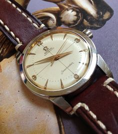 Vintage Omega Seamaster With White Crosshair Waffle Dial, Circa 1950s
