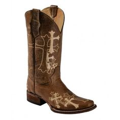 Corral Circle G Ladies Cowboy Boots Distressed Brown with Beige Cross Embroidery