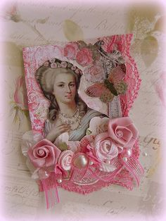"""""""Roses and butterflies for Marie"""" ATC"""