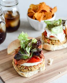 Roasted Red Pepper Quinoa + White Bean Burgers #Healthy #Easy #Delicious #Recipes