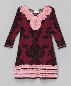 Look what I found on #zulily! Burgundy & Black Damask Ruffle Dress - Toddler & Girls by Pink Vanilla #zulilyfinds