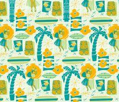 spoonflow, beaches, gift wrap, pattern, decals, gifts, seaside, throw pillows, tiki fabric