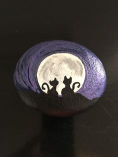 This, as many of my paintings are UNIQUE pieces of Art that I painted, this is my Original Two Cat Silhouette Metallic Purple Sky creation. I painted this wonderfully detailed Cats Silhouette with vibrant purple blue quality acrylics on a Pacific Ocean Sea Rock; this is a totally hand painted UNIQUE piece of art and makes a great gift idea! | eBay!