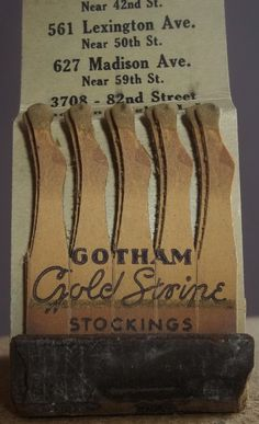 Gotham Gold Stripe Stockings (USA) promotional matchbook