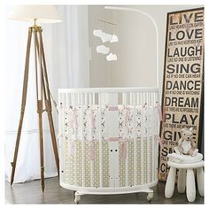 Stokke mini bassinet bedding. Adorable bunnies in pink white & gold for a luxury on trend nursery. 100% Designed Cut & Sewn in Austin, TX. #stokke