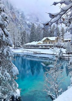 Blausee, Switzerland Photo by Places In Switzerland, Switzerland Vacation, Claude Monet, Winter Magic, Winter Scenery, Winter Beauty, Winter Pictures, Belleza Natural, Snow