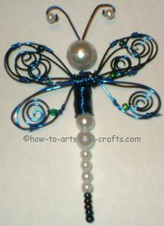 dragonfly cafts   Dragonfly crafts. Picture of blue and white dragonfly ornament with ...