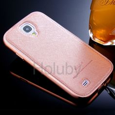 Silk Pattern Slide-on Plating Metal Frame+ Leather Coated PC Back Case for Samsung Galaxy S4 I9500 Pink