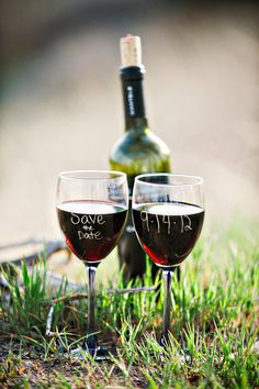 "Save the Date Wine Glasses. OMG yes! But, I think I would like to be in the picture with my fiance, maybe gently ""Cheers""-ing the glasses? Set up maybe on a blanket. OOOO I like this!"