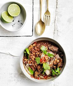 Braised beef short ribs with red rice and mushrooms recipe :: Gourmet Traveller