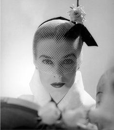 Lillian Marcuson in a hat by Lily Dache, 1951, photo by Milton Greene