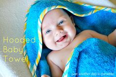 Larissa Another Day: Hooded Baby Towel: Tutorial - hooded towel Baby Sewing Projects, Sewing For Kids, Sewing Tutorials, Sewing Ideas, Quilting Tutorials, Sewing Tips, Sewing Crafts, Craft Projects, Craft Ideas