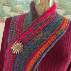 Crochet Infinity Scarf Pink Purple Blue Coral by WildHeartYarnings, $36.00
