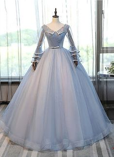 Blue V neck, long formal prom dress with sleeves,Princess long prom gown,unique tulle long prom dress, long applique senior prom dress ,floor length prom gown, Prom Dresses 2018,New Fashion,Custom Made