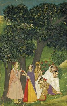 Yogini | Court ladies meet a yogini in the forest, Provincial Mughal style ...