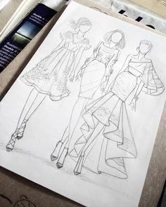 Next Post Previous Post Zeichnen und skizzieren. Fashion Design Inspiration, Fashion Design Portfolio, Fashion Design Drawings, Fashion Sketches, Fashion Ideas, Clothing Sketches, Fashion Outfits, Party Fashion, Fashion Fashion