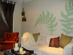 ferns I hand painted on the living room wall by looking at a picture for inspiration