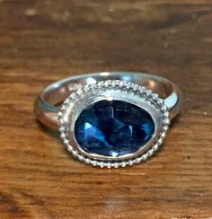 Blue Topaz Ring, London Blue Tooaz, Sterling Silver Ring, Rose Cut Stone, Solitaire Ring, Blue Ring, Ring, Gemstone Ring, Boho, Rocker Chic