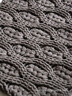 Puff stitch and Cables free crochet stitch graph pattern - working on handmade pieces of art...I would stitch away some time on my perfect Saturday
