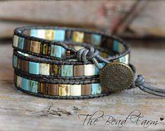 Beaded Wrap Bracelet, Tile Wrap Bracelet , Leather Beaded Wrap, Wrap Bracelet, Boho Wrap Bracelet, Leather Wrap Bracelet,