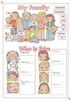 My family Language: English Level/group: Grade Pre-school. Elementary School subject: English as a Second Language (ESL) Main content: The family Other contents: family members English Lessons For Kids, English Worksheets For Kids, Kids English, English Activities, Learn English, Preschool Activities, Preschool Family Theme, Preschool Worksheets, English Language Learning