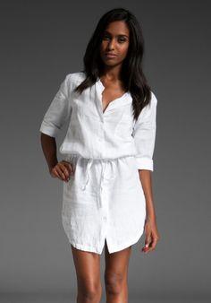 James perse Summer Linen Shirt Dress in White