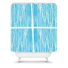 Karen Harris Looking Out in Sky Shower Curtain