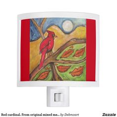 Red cardinal. From original mixed media painting Nite Lite