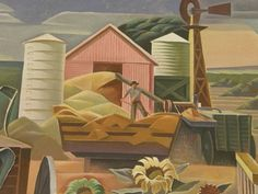 Texas Farm - Elgin, Texas Post Office Mural by Julius Woeltz, Office Mural, Office Art, Post Office, Murals Street Art, Elgin Texas, Texas Farm, Art History Lessons, Public Art, Windmill