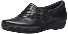 Clarks Womens Everlay Iris Flat Black Leather 12 M US ** To view further for this item, visit the image link. Note:It is Affiliate Link to Amazon.