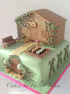 Garden shed how kl Cupcakes, Cupcake Cakes, Vegetable Garden Cake, Veg Garden, Allotment Cake, Dad Birthday Cakes, 60th Birthday, School Cake, Fantasy Cake