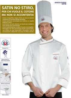 Giacca Cuoco no stiro Federazione italiana cuochi Chef F.I.C. Isacco Satin 100%