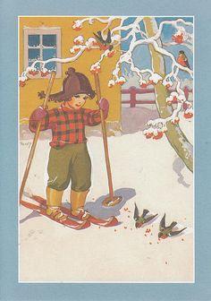 Martta Wendelin | par loretoidas Vintage Ephemera, Vintage Postcards, Vintage Art, Vintage Christmas Cards, Christmas Art, Ski, 23 November, Winter Wonderland, Martini