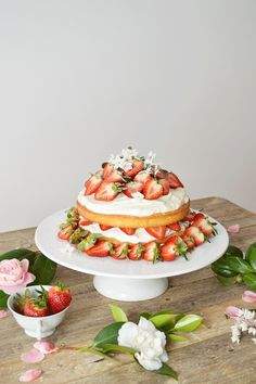 Strawberry Sponge Birthday Cake. A recipe of a birthday cake, of two layers, mascarpone cheese, greek yoghurt and loads of strawberrys.