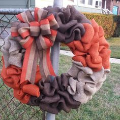Fall Chocolate Orange and Cream Burlap Wreath by CoffeeGoingCold on Etsy https://www.etsy.com/listing/243603823/fall-chocolate-orange-and-cream-burlap
