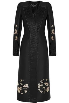 Alexander McQueen | Moon satin-crepe and jacquard coat | NET-A-PORTER.COM - done in white or cream