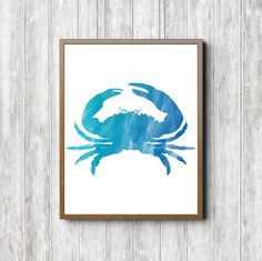Crab Printable Wall Decor - Watercolor Crab Wall Art - Sea Animal Print - Beach Art - Baby Boy Nursery Poster - Turquoise Art - Office