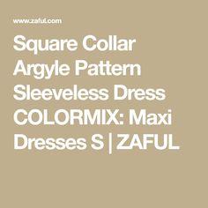 Square Collar Argyle Pattern Sleeveless Dress COLORMIX: Maxi Dresses S | ZAFUL