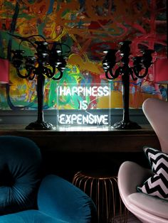 Happiness is expensive is a freestanding neon light available @ #47ParkAvenue