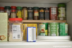 Add an extra shelf for your spices in your kitchen cabinets - you can do this in minutes without any power tools!