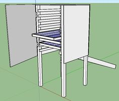 Solar dehydrator design with a door, removable shelves and heat collector in the back.