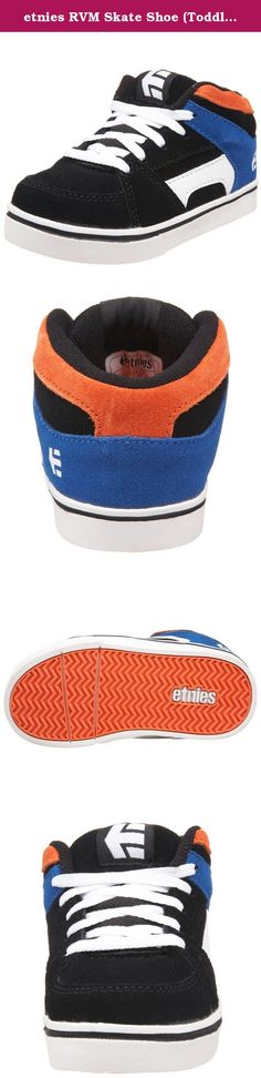 """etnies RVM Skate Shoe (Toddler),Black/Orange,8 M US Toddler. Padded tongue and collar. Super flexible TPR outsole. Fetaures Etnies """"Grow With Me"""" fit system. Molded EVA footbed."""