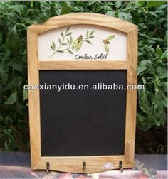 wholesale in stock chalkboard blackboard with three hooks hotel decor message board writing board wooden frame with embroidery