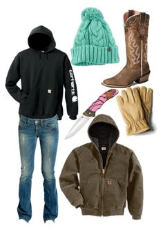 """""""Checking calves at 20 below"""" by countrygirl-14 ❤ liked on Polyvore featuring Carhartt, The North Face, Ariat and GUESS"""