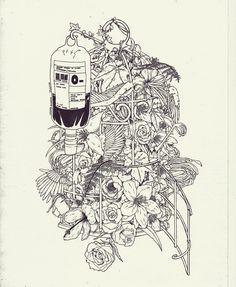 """""""Familiar"""", by Linniker  #morbid #linniker #flower #bird #birdcage #ink #artwork #illustration #drawing"""
