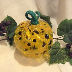 A personal favorite from my Etsy shop https://www.etsy.com/listing/248462442/fall-decor-hand-blown-glass-pumpkin