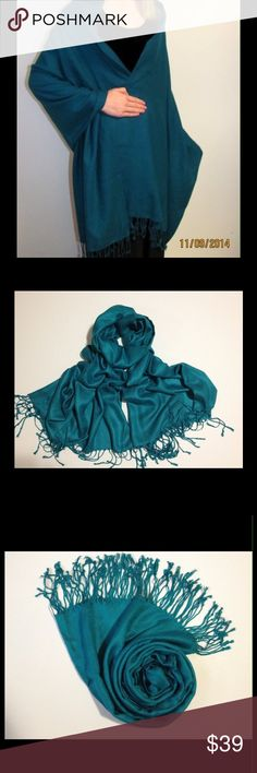 ✨Jade Pashmina Large Wrap✨ Gorgeous jade green ....very large....pashmina wrap, tags are still on it.....Would make a great Christmas gift👍💕😀💕 Jackets & Coats