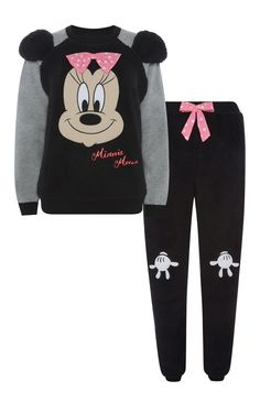 Primark - Minnie Mouse Black Sherpa PJ Set