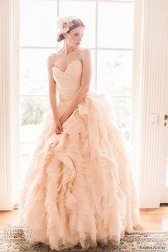 cascading layered ruffle pink pastel strapless wedding dress