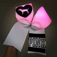 LIGHT UP Pink Dog Cheer Bow Pink lights!
